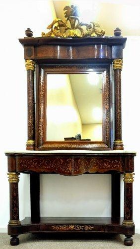 Spanish Empire Console Table W/ Mirror Circa 1810