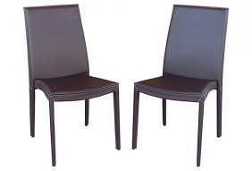 Leather Calligaris Chairs, Pair
