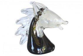 Gold Inclusions Murano Art Glass Horse Mid-century