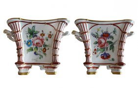 Hand-painted Porcelaine De Paris Cachepots -a Pair