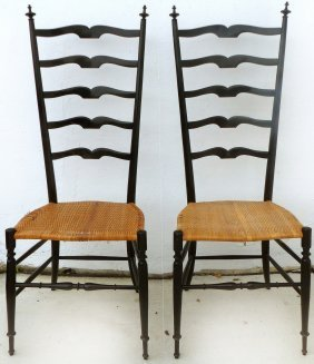 Gio Ponti Style Mid-century Ladder-back Chairs, Pair