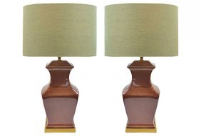 Paul Hanson Ceramic & Brass Lamps, Pair