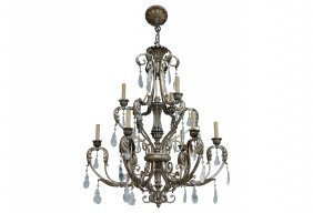 Silver-gilt Iron & Crystal Chandelier