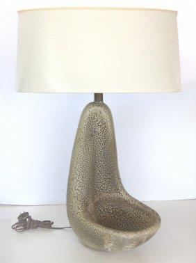 Mid-century Speckled Flaze Studio Sculpture Lamp