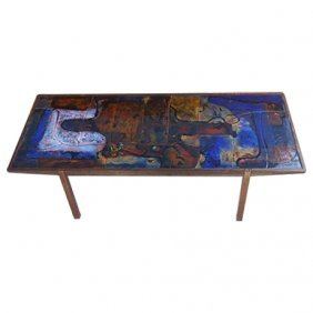 Scandinavian Glazed Ceramic & Wood Table