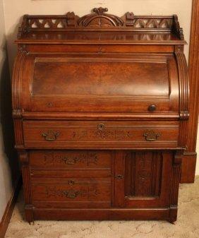 Quinn's Victorian Burl Walnut Cylinder Secretary Desk