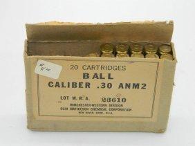 20 Cartridges Ball Caliber .30 Anm2 Winchester-western
