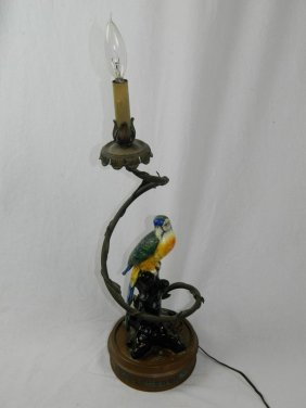 Art Deco Parrot And Thorny Vine Lamp