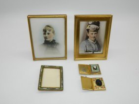 Lot Of Five Small Picture Frames, Swizzles, And