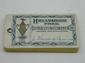 Rare Signed J Howard Quinn 1940's Hollywood Park Turf