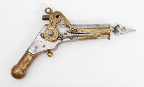 Unusual Small Engraved Wheellock Pistol With Key