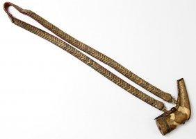 Caucasian Gilt Powder Flask With Suspension Belt, 19th