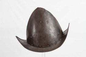 Spanish Etched Morion Helmet In 17th C. Style