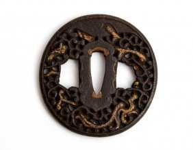 Antique Japanese Samurai Sword Tsuba Hand Guard