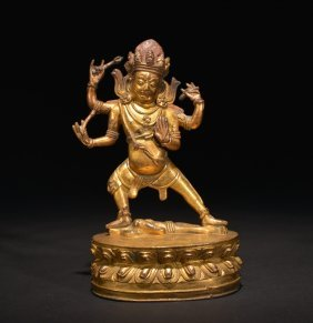 A Gilt-bronze Figure Of Vajrapani