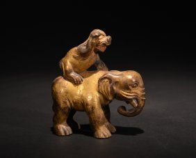 A Gilt-bronze Figure Of Elephant