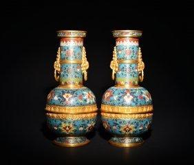 A Pair Of Gilt Bronze Cloisonne Enamel Vases