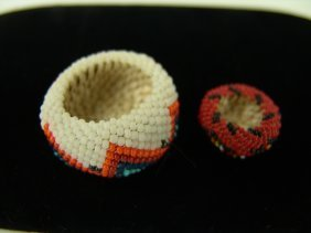 2 Miniature Beaded Baskets