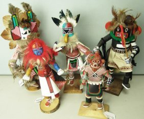 5 Wooden Kachina Dolls