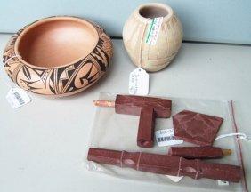 2 Pots + Catlinite Pipe