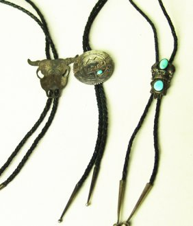 3 Sterling Silver & Turquoise Bolo Ties