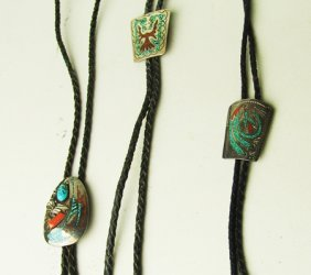 3 Turquoise & Silver Singer Chip Inlay Bolo Ties