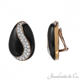 "Diamond And Onyx ""pear Swirl"" Earrings"