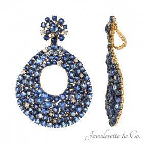 """Sapphire And Diamond """"firework Sparkler"""" Earrings"""