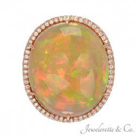 Crystal Opal With Pave Diamonds Ring