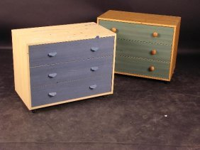 A MODERN THREE DRAWER CHEST, WITH BLUE STAINED