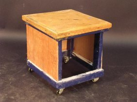 A HOME-MADE SIDE TABLE OR FOOT STOOL, THE BLUE