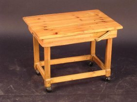 A HOME-MADE PINE COFFEE TABLE, THE RECTANGULAR