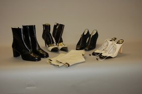 A Group Of Chanel Footwear, Comprising: Black Leathe