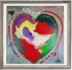 Love Pop Heart Original Mixed Media Painting Canvas