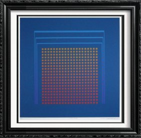 Vasarely-agam-style Figurative Abstract Modern Signed