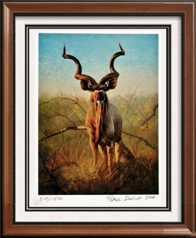 Great Hunting Art Ram Lithograph Signed Colored