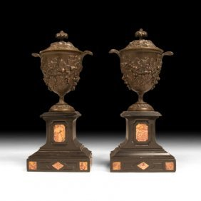 Pair Of Neoclassical Spelter & Marble Urns
