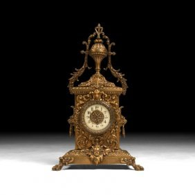 Louis Xvi-style Mantle Clock With Lions