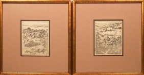 Pair Of Japanese Etchings, Men At Hunt