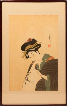 Japanese Woodblock, Geisha Painting Calligraphy