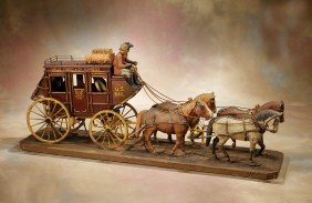 Hand Carved Vintage Wooden Stagecoach