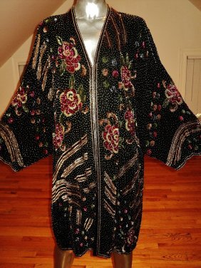 Vintage Hollywood Regency Beaded Opera Coat Silk 1940s