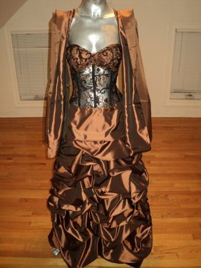 Vintage Dolce Giovani Pageant Beaded Bronze Gown/shawl
