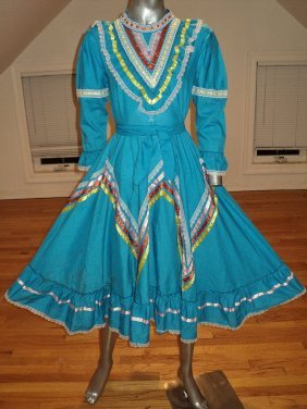 Vintage Rockabilly Ethnic Mexican Dress Ribbons Sweep