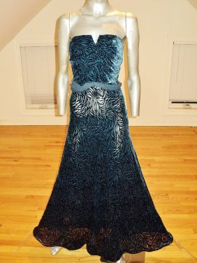 Chetta B. Paris Straplesstrumpet Gown Embossed Velour