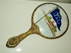 Antique Yale Hand Mirror Painted Porcelain G. Silver