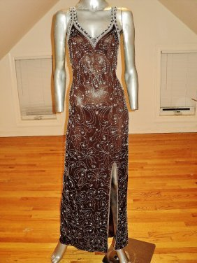 Silk Layering 1960s Embellished Beaded Coco Gown Pearls