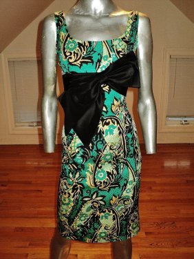 Kay Unger Ny Silk Brocade Dress Kitten Bow Size 12