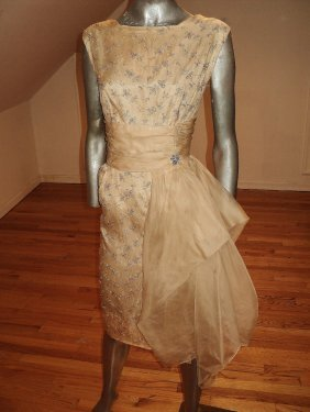 Vintage 1950 Embroidered Organza Dress Wings/ Brooch