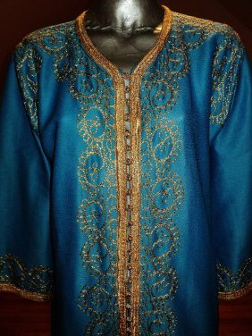 Ethnic Embroidered Aqua Caftan Gold Embroidery